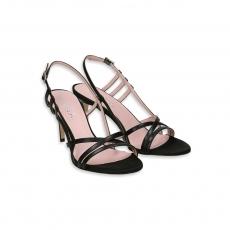 Black leather Sandal heel 80