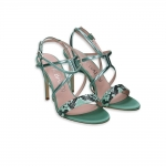 Acquamarine Pyton & leather heel 90