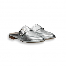 Silver laminated calf clamp detail slipper leather sole