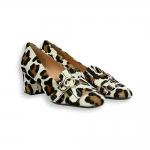 Leo printed pony calf fringe and clamp loafer heel 50 mm.