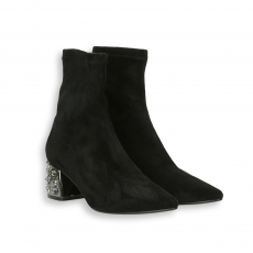 Black stretch suede pointed ankle boot jewel heel 50 mm.