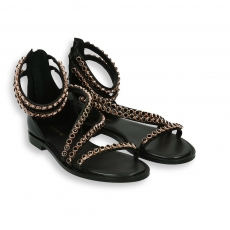 Black sandal with swarovski detail and leather sole
