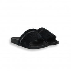 Black plums fashion fusbett slides rubber sole