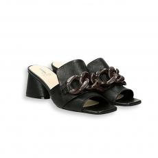 Black calf Chain sandal heel 50 leather sole