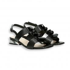 Black calf sandal and stones details mirror heel 20 mm.