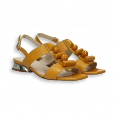 Ochre calf sandal and stones details mirror heel 20 mm. leather sole