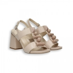 Ivory leather and stone details heel 70 mm. leather sole