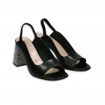 Black leather sandal with black & white heel 80