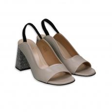Ecru leather sandal with black & white heel 80