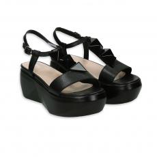 Black leather wedge with glazed stones heel 40