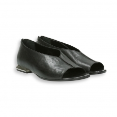 Black calf open toe zip slip-on heel 15 mm.