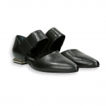 Black calf strap pointed bebe' heel 15 mm. leather sole