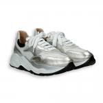 White and silver laminated calf running