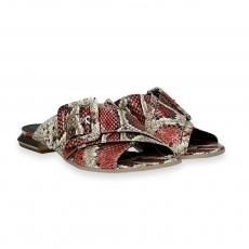 Coral printed python calf buckle crossover sandal heel 15 mm