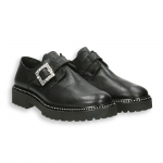 Black calf Swarovski buckle monk strap rubber sole
