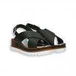 Black calf crossed belt sandal platform 30 mm. rubber sole
