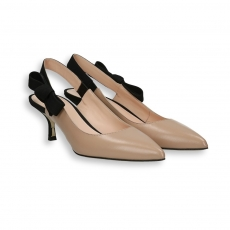 Powder goat calf gross-grain knot Slingback heel 50 mm. leather sole