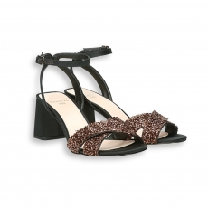 Black satin and copper paillettes crossed belt sandal heel 70 mm. leather sole