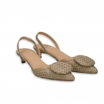 Sand raffia chanel with button detail heel 30