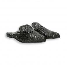 Black intreccio calf pointed Slipper heel 10 mm. leather sole