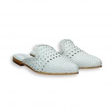 White intreccio calf pointed Slipper heel 10 mm. leather sole