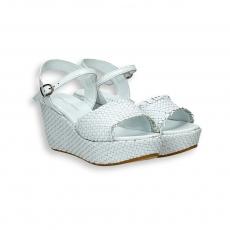White intreccio calf sandal platform heel 60 mm. rubber sole
