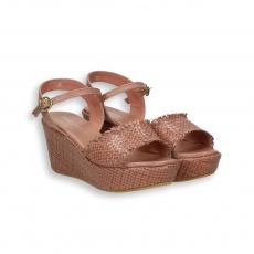 Nut intreccio calf sandal platform heel 60 mm. rubber sole