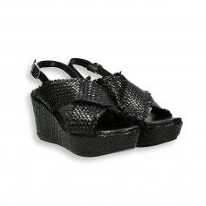 Black intreccio calf sandal platform heel 60 mm. rubber sole
