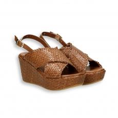 Light brown intreccio calf sandal platform heel 60 mm. rubber sole