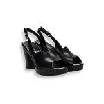 Black calf wave sandal platform 80 mm.