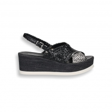 Black and silver braided leather sandal wedge 60 mm.