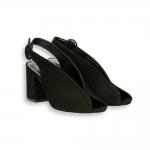 Black suede Sandal heel 60 mm. leather sole