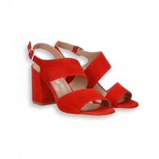 Red suede 2 belt ankle strap sandal heel 60 mm.
