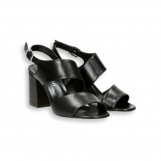 Black Napa  2 belt ankle strap sandal heel 60 mm.