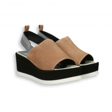 Nut and black suede platform sandal heel 95 mm. rubber sole