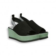 Black and green suede platform sandal heel 95 mm. rubber sole