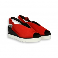 Red and black suede platform sandal heel 40 mm. rubber sole