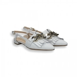 White calf fringe and chain slingback heel 10 mm.