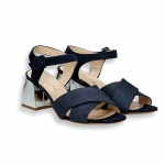 Blue lurex and suede detail crossed band ankle strap sandal mirror heel 60 mm.