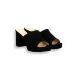 Black suede slider platform heel 60 mm.