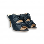Blue napa 2 tassels slider heel 80 mm. stiletto