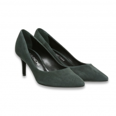 Grey suede pointed pump heel 65 mm.