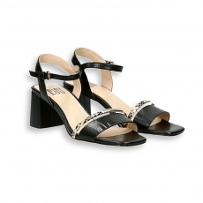 Double strip black calf and python sandal heel 50 mm.