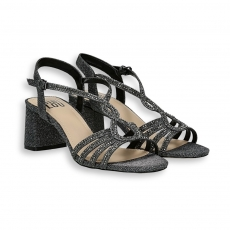 Lead lurex strips sandal heel 50 mm.