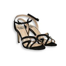 Black lurex and plexy Sandal heel 80 mm.