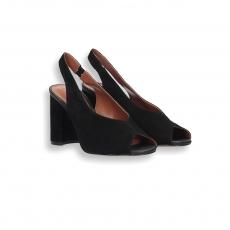 Black suede sandal heel 70 mm. leather sole