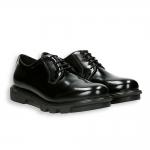 Black shiny calf derby rubber sole