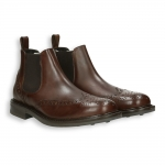 Brown calf english-style tip Chelsea boot rubber sole