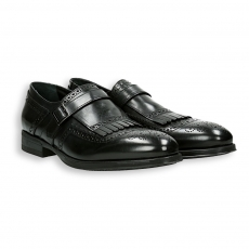 Anthracite calf fringe and clamp english style tip monk strap