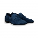 Blue suede loafer leather sole with rubber insert